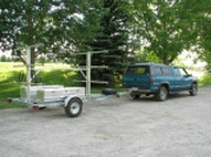 6 place canoe 12 kayak trailers